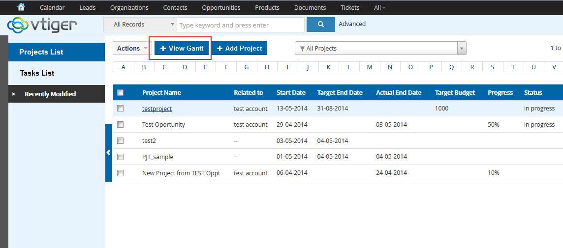 Vtiger project gantt chart customization add on vtigerganttchart1 ccuart Gallery