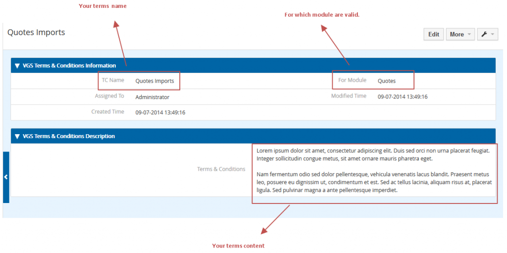 vtiger multiple terms & conditions module example