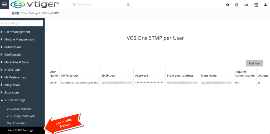 Vtiger One smtp for each user