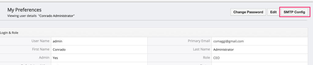One SMTP Per User Vtiger Module - Users Screen