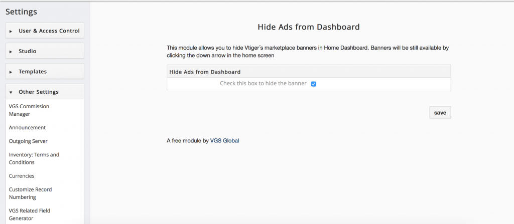 vtiger free modules & extensions - hide ads