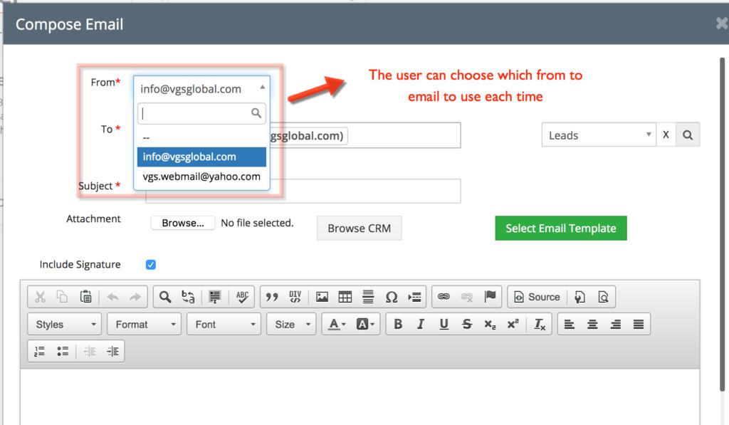 Vtiger multiple outgoing email server Compose