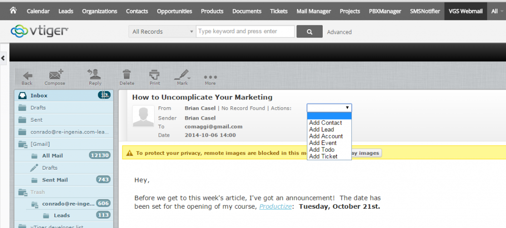 Vtiger mail manager replacement roundcube integration add contacts leads tickets etc directly from your email maxwellsz