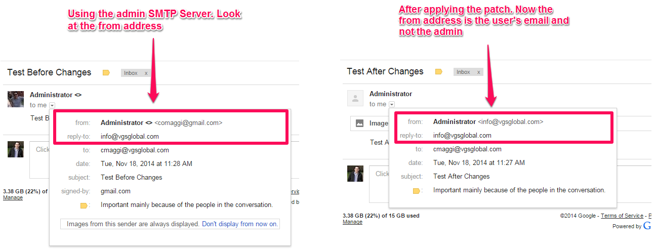 One SMTP Per User Vtiger Module - Before and after